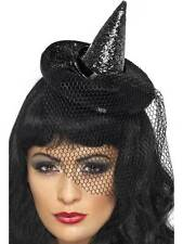 MINI WITCHES HAT, BLACK, HALLOWEEN WITCH FANCY DRESS ACCESSORIES, HALLOWEEN