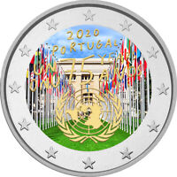 2 Euro Gedenkmünze Portugal 2020 coloriert  mit Farbe / Farbmünze UNO 2