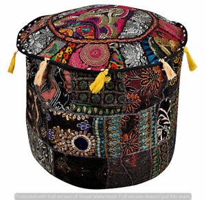 Indian Handmade Black Pouf Cover Bohemian Ottoman Stool Floor Chair Pouffe Cover