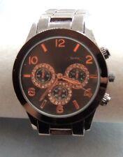 Beautiful Men's Women's Rhinestone Watch, Gun Metal FMDMO526 New Battery