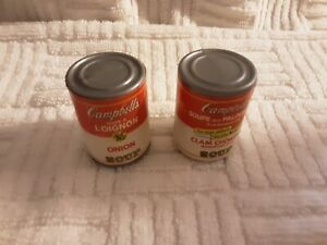 2 Vintage Miniature Doll Campbell Soup Cans Plastic Play Food