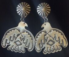 Large Navajo Sterling Silver Thunderbird Concho Earrings by Vincent Platero