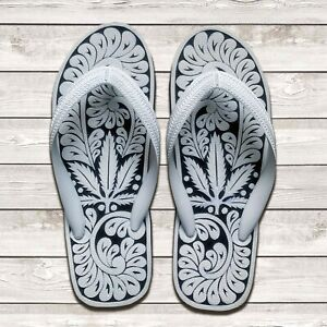 Hand Carved Unisex Flip Flops | Comfortable Adult Sandals | Marijuana Leaf