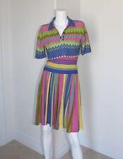 Vtg Missoni for Bonwit Teller Multicolor Stripe Tube Dress Zig Zag Top XS 0 2 4