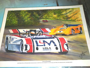 Pair of Framed Prints of Painted Historical Can Am Racing