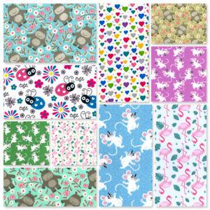 Childrens Masks Fat Quarter Ladybugs Bugs Hippo Mice Flamingo Polycotton Fabric