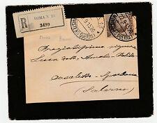 STORIA POSTALE 1915 REGNO C.40 SU LETTERA RACC. ROMA (MINISTERO GUERRA) Z/1061