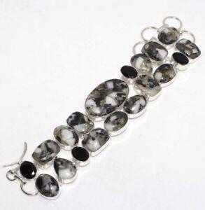 "Copper White Buffalo Turquoise Black Onyx Handmade Big Cluster Bracelet 8.5"" GW"