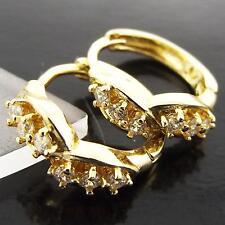 FSA013 GENUINE 18K YELLOW GOLD G/F SOLID DIAMOND SIMULATED HUGGIE HOOP EARRINGS