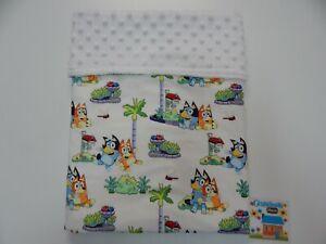 Bluey Baby Blanket Bingo Palm Trees Bassinet Pram Minky Dot Back 80cm x 60cm