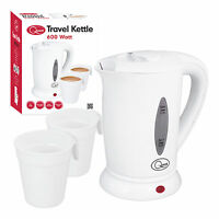 NEW 0.5LITRE DUAL 240V SMALL ELECTRIC TRAVEL KETTLE + 2 CUPS IN WHITE COLOUR