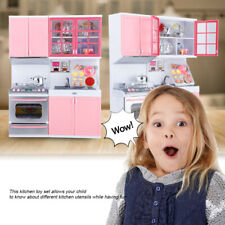Pink plastic Kitchen Toy Kids Cooking Pretend Play Set Toddler Playset Gift