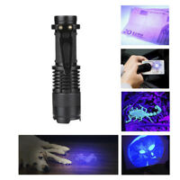 Portable UV Ultra Violet LED Flashlight Purple Mini Blacklight Torch Lamp Light