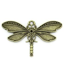5 x Dragonfly Antique Bronze Pendant Charms