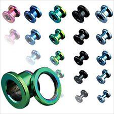 1 PAIR  0g LIGHT BLUE ONLY Screw Fit Anodized Titanium Ear Plug Tunnels