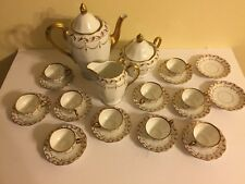 Antique KPM Rubens Porcelain Teapot Creamer Sugar Demitasse Cups And Saucers