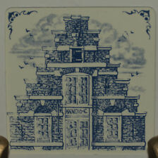 "KLM 3"" tile 1982: #12 - delft collectible tile 17th century step gable Holland"