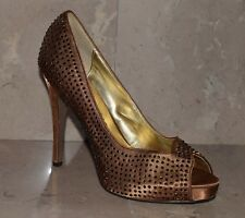 Martinez Valero Bronze Rhinestone Peep Toe High Heels Stiletto Size 8