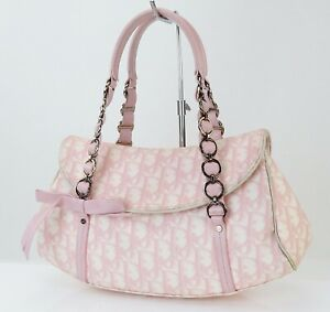 Auth CHRISTIAN DIOR Pink Trotter PVC Canvas and Leather Hand Bag Purse #40442
