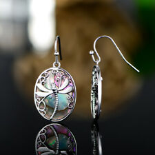 Sevil 18k White Gold Plated Created Abalone Pearl Dragonfly Dangling Earrings