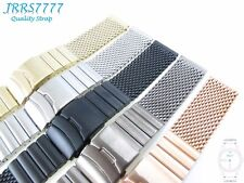 24mm Men's Watch Bracelet Stainless Steel Multicolored Shark Mesh Brushed Strap