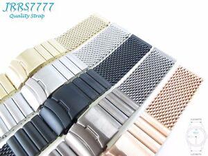 24mm Men's Watch Bracelet Stainless Steel Multicolored Shark Mesh Brushed Strap