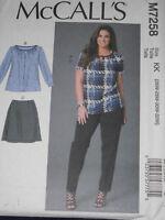 Top Skirt Pants Women's size 26w-32w McCall 7258 Sewing Pattern