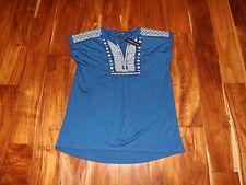 NWT Womens MICKY LONDON Blue White Split V-Neck Tunic Blouse Shirt S Small