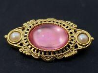 Vintage Pink Rhinestone Cabochon Bar Brooch Pin Ornate Gold Tone Faux Pearls