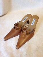 Steve Madden Womens Gracce Heels Size 7.5B Leather Upper Tan Shoes Slip On