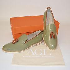 Attilio Giusti Leombruni AGL Slipper Loafer Lackleder Gr.37 grün Schuhe Leder