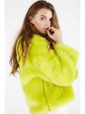 Lavish Alice Lime Neon Green Faux Fur Jacket Cropped Size 10
