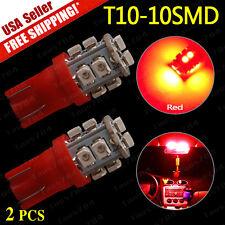 2 PCS 2016 NEW RED Wedge T10 10-SMD LED Light bulbs 192 168 194 W5W 2825 158 12V