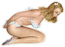 "50's Beach Blonde Bikini Pin Up Girl 6"" Decal FREE SHIPPING"