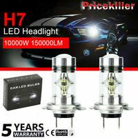 2Pcs Super Bright LED Fog Tail Driving Car Head Light Bulb White Lamp H7 10000W