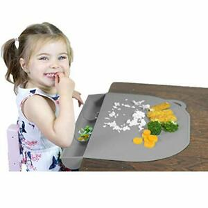Food Catching Baby Placemat with Suction - UpwardBaby Gray Silicone Placemats...