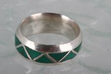 SILVER GREEN INLAID STONES BAND RING SIZE 9 1/2 FINE 6715B