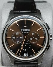 NEW ZENITH Captain El Primero Chronograph SS Leather Brown 03-2110-40075C498