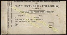 1882 THE PHOENIX ELECTRIC LIGHT & PWER Co Bankers Receipt for share deposit