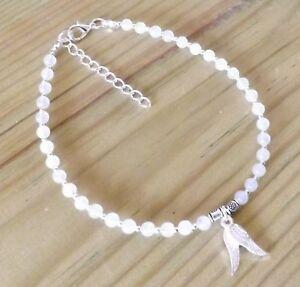 White Moonstone 4mm Gemstone Beaded Angel Wings Charms Ankle Bracelet Healing