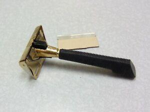 Vintage GEM black push button Single Edge Safety Razor 1960's USA