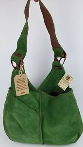 NWT LUCKY BRAND Vintage Inspired Slow Ride Slouchy Green Suede Hobo Bag NEW