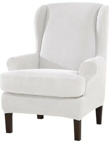 Wing Chair Cover 2-Piece Waffle Fabric Protector Off-White NEW FREE P&P (A)