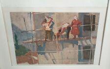Agim Faja 1939-2017 original oil painting Plasterers 1964 Albanian master artist