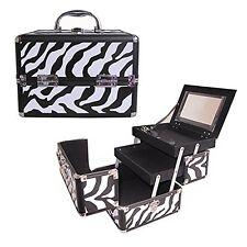 "10"" Pro Aluminum Makeup Train Case Jewelry Box Cosmetic Organizer Zebra New"