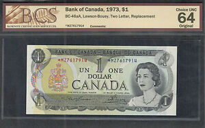 1973 *MZ $1.00 BC-46aA BCS UNC-64 Scarce ASTERISK REPLACEMENT NOTE Canada Dollar