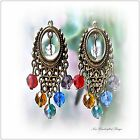 Earrings Chakra Rainbow crystal bronzed Boho chandelier, clip on or pierced