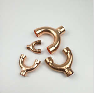 Red Copper End Feed Equal Y shape 3 Way Pipe Fitting Plumbing for gas water oil