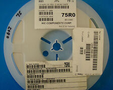 NIC Corp 0603 Size Resistor Reel 75 Ohm, 1%, NRC06F75R0TR, 5000pcs