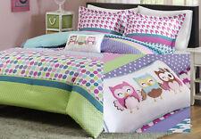 Full-Queen Aqua Multi Polka Dot 4-PC Comforter Set Sham Owl Pillow Girls Bedding